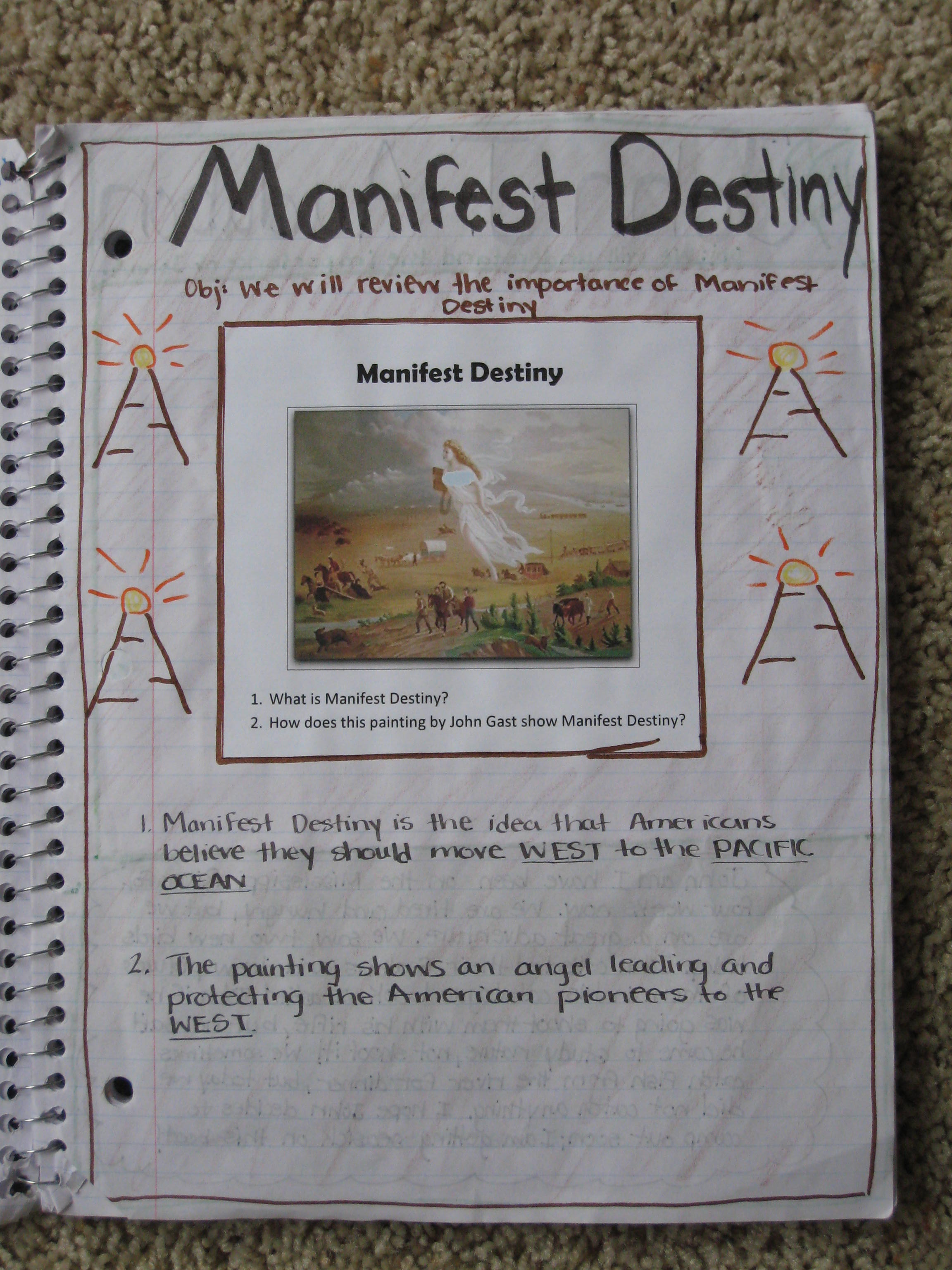 the history of manifest destiny history essay A symbol of manifest destiny, the figure columbia moves across the land in advance of settlers, replacing darkness with light and ignorance with civilization.